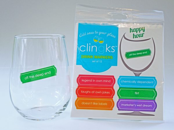 Clingks Drink Markers - Happy Hour theme - $9.99 for set of 12. Funny, reusable, static-cling wine charms for stemless glasses. Get your guests laughing to start your party off right. Great for hostess gifts, too. Visit Clingks.com to buy