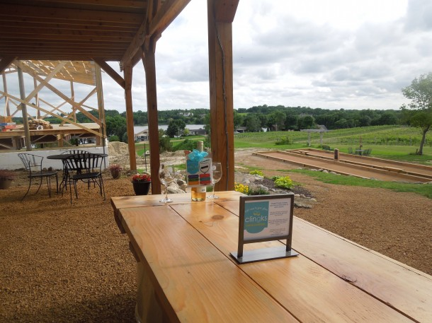 Clingks with a view of the estate and lake from the tasting room at Schram Vineyards