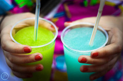 Neon Green and Teal Cocktail Slushies