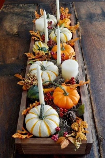 Orange and White Pumpkins and Candles Centerpiece