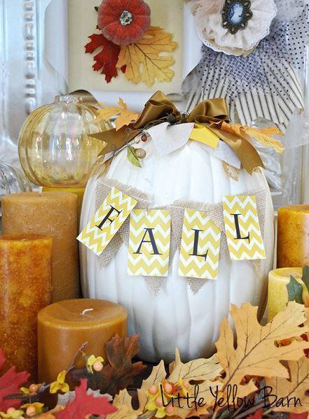 White Pumpkin Fall Sign