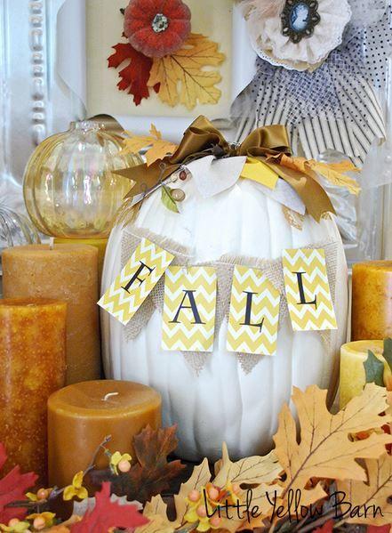 White Pumpkin Fall Sign