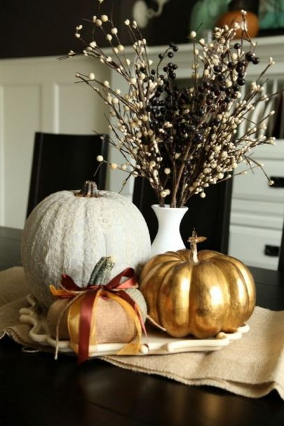 White and Gold Pumpkin Decorations