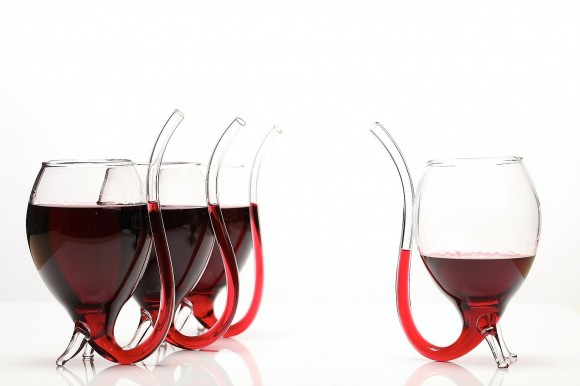 WIne Glass with Built-In Straw