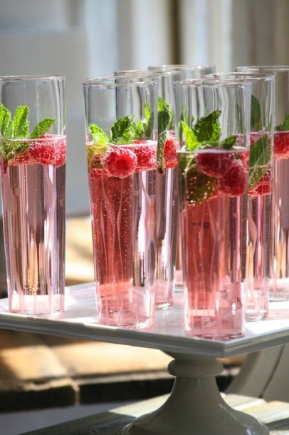 champagne raspberry mint