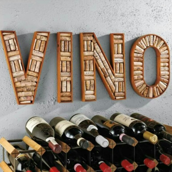 Vino sign made of corks