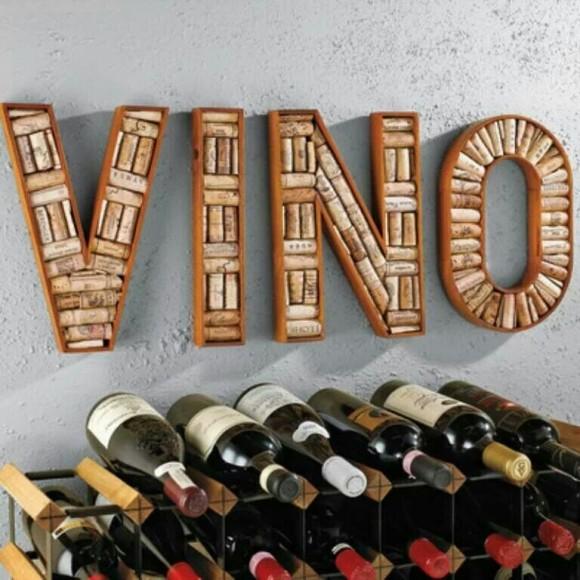 Vino sign made of corks