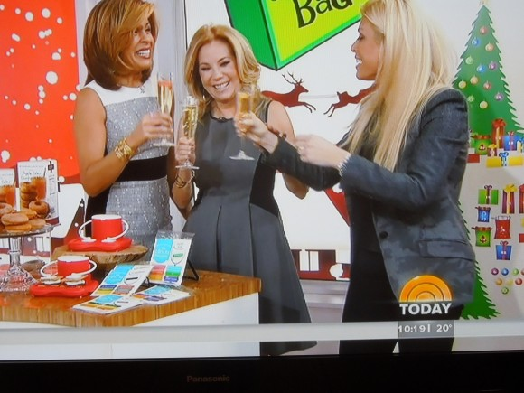 Jill Martin, Kathie Lee and Hoda enjoying Clingks drink markers on their champagne glasses!