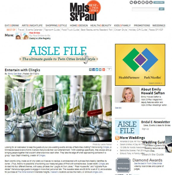 Clingks were featured in Aisle File - the wedding guide by Mpls. St.Paul Magazine