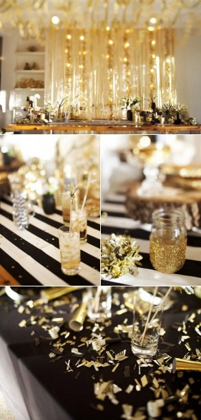 black gold tablescape