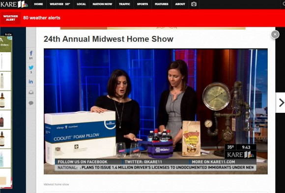 featured product promoting the Midwest Home Show on Kare11 tv and online