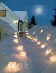 winter walk way lights