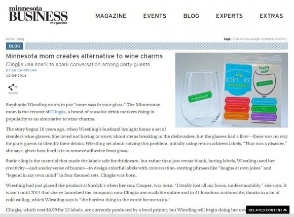 Clingks owner Stephany profiled in Minnesota Business Magazine blog