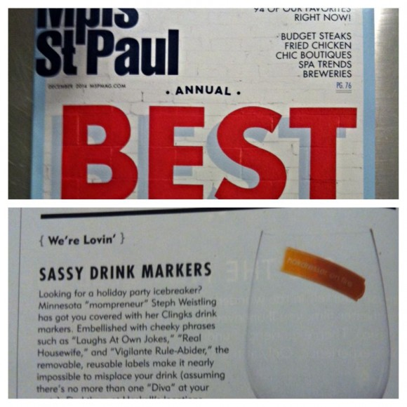 Clingks was featured in the We're Lovin' section of the December 2014 Best of Year print edition of Mpls. St. Paul Magazine.