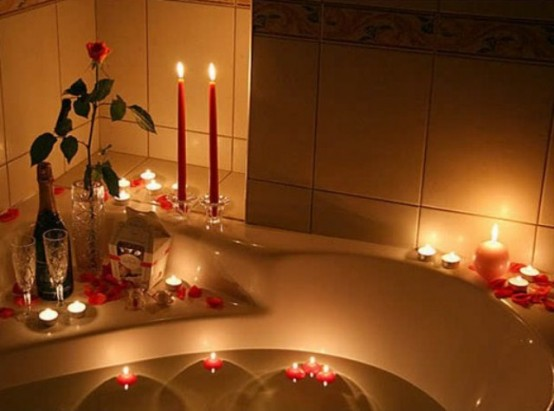 candles bathtub