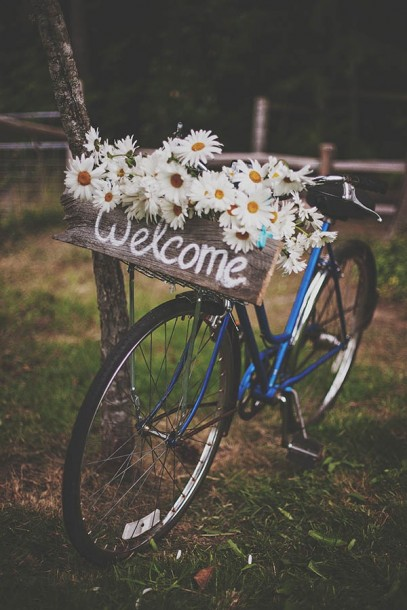 bicycle and flowers welcome