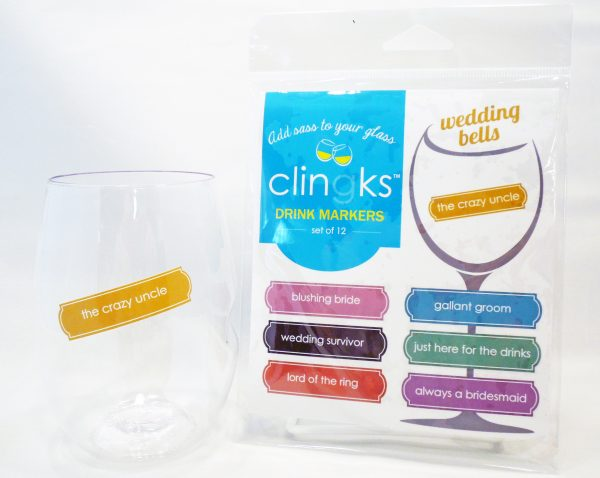 Funny wedding-themed static cling wine charms from Clingks.com