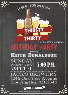 30th birthday surprise party thirsty 30 invitation filmwisefo Images