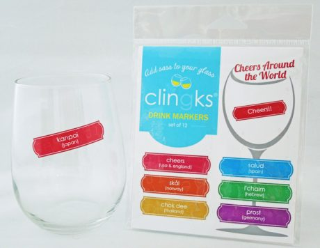 Say Cheers in 12 languages with these fun drink markers from Clingks