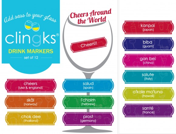 Say Cheers in 12 languages with these fun drink markers from Clingks!