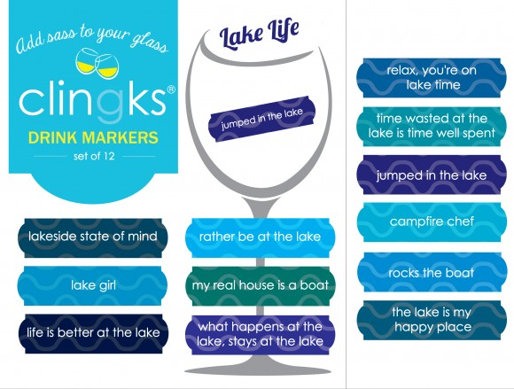 whether you have a lake home or just dream of one, these fun drink markers from Clingks will put you in a lakeside state of mind.