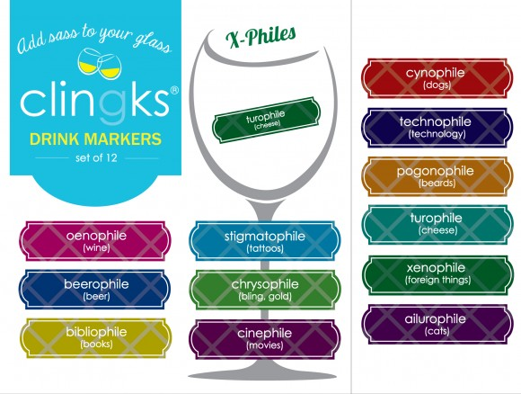show your love of wine, books and even beards with these fun X-Philes drink markers from Clingks.