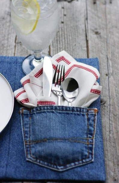 denim utensil holder