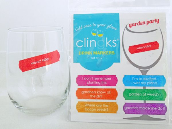 Hilarious and sassy garden themed glass tags from Clingks drink markers. Only $9.99 for a set of 12.