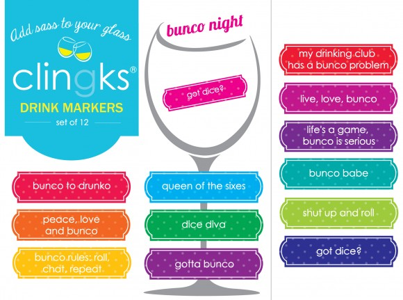Hilarious and sassy Bunco themed glass tags from Clingks drink markers. Only $5.99 for a set of 12.