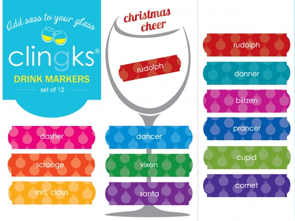 Family friendly Christmas themed glass tags from Clingks drink markers. Only $5.99 for a set of 12.