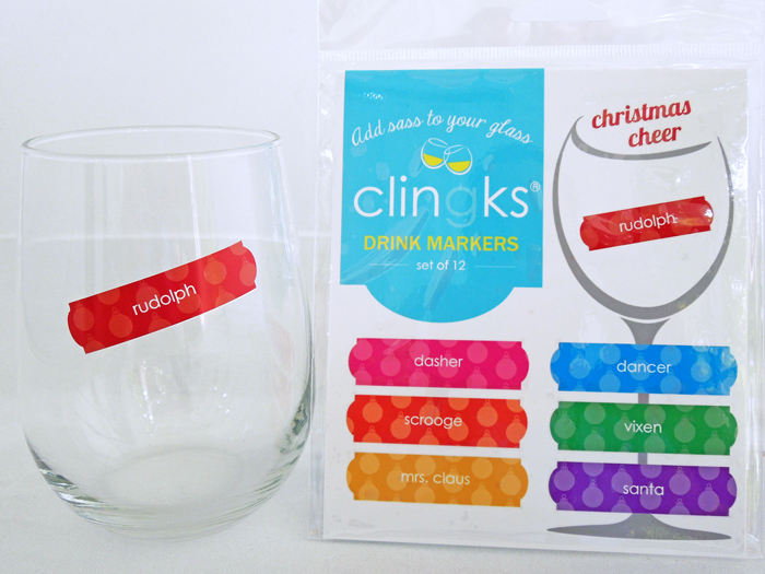 Christmas Cheer static cling drink markers by Clingks. Set of 12 static cling wine charms only $9.99 at clingks.com