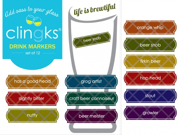 Hilarious and sassy craft beer themed glass tags from Clingks drink markers. Only $5.99 for a set of 12.
