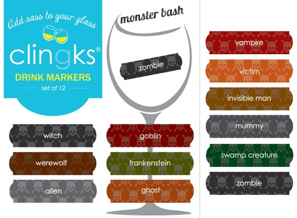 Funny Family Friendly Halloween static clings drink markers from Clingks.com