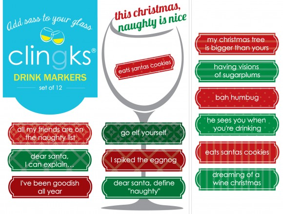 Hilarious and sassy Christmas themed glass tags from Clingks drink markers. Only $5.99 for a set of 12.