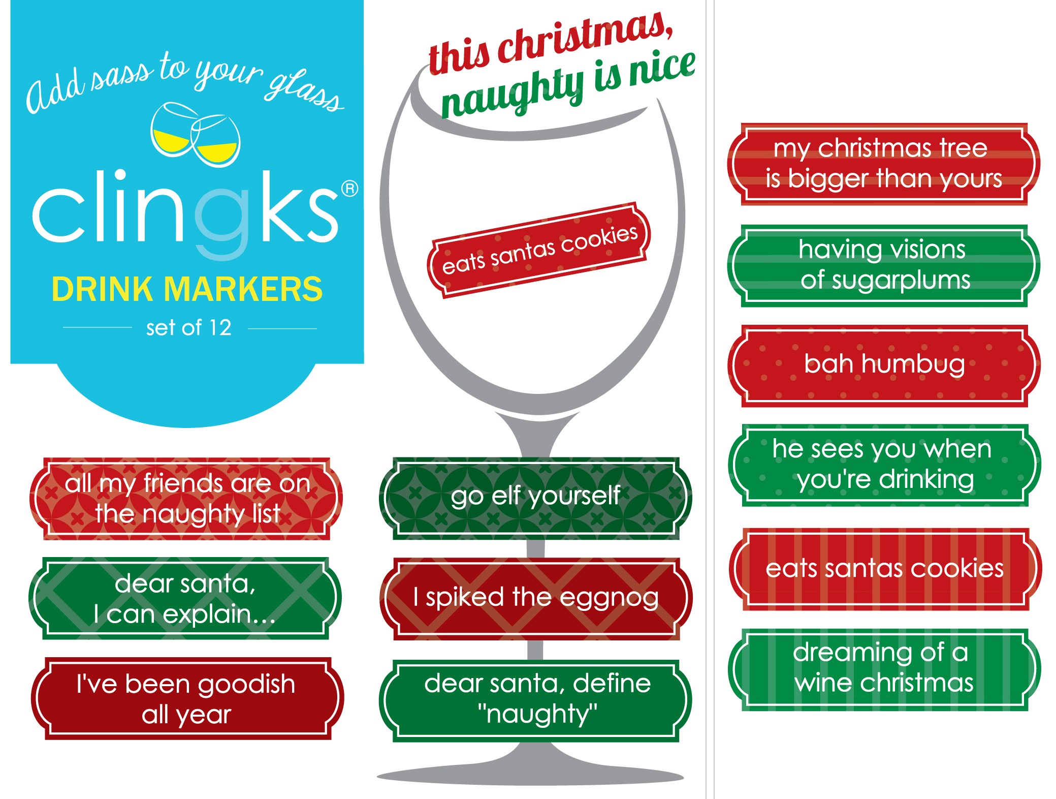 Clingks Drink Markers - Happy Hour