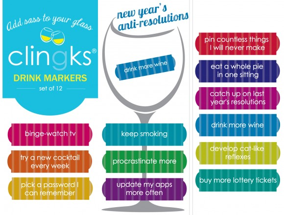Hilarious and sassy New Year's themed glass tags from Clingks drink markers. Only $5.99 for a set of 12.