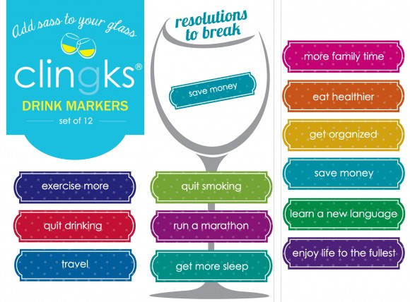 Family friendly New Year's themed glass tags from Clingks drink markers. Only $5.99 for a set of 12.