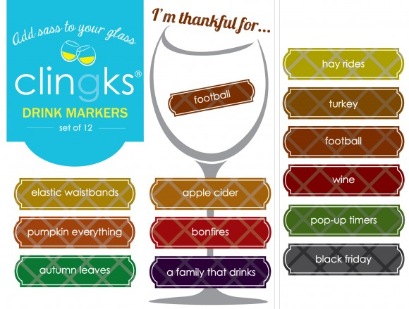 Family friendly Thanksgiving themed glass tags from Clingks drink markers. Only $5.99 for a set of 12.