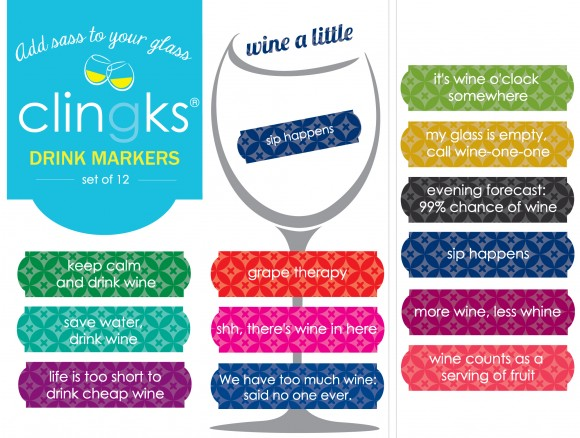 Fun and sassy wine themed glass tags from Clingks drink markers. Only $5.99 for a set of 12.