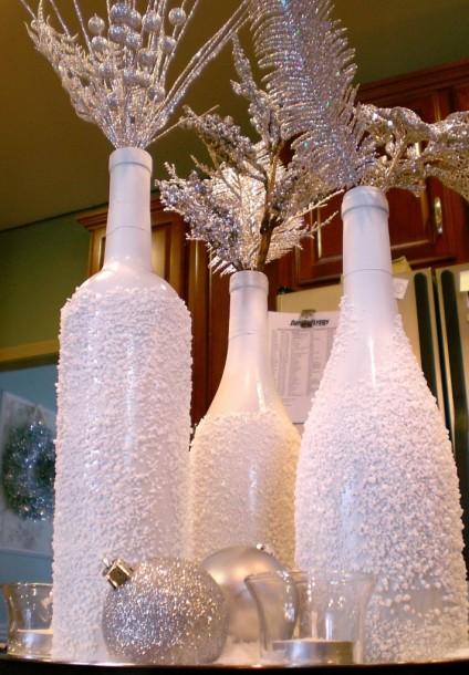 snowy wine bottles centerpieces