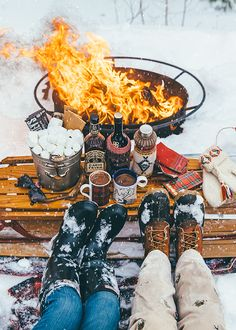 winter outdoor bonfire