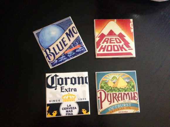 beer lable coasters