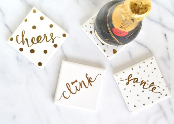 gold words coasters