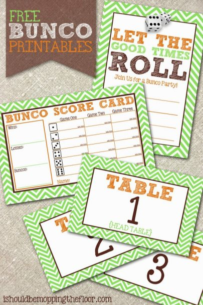 bunco printables