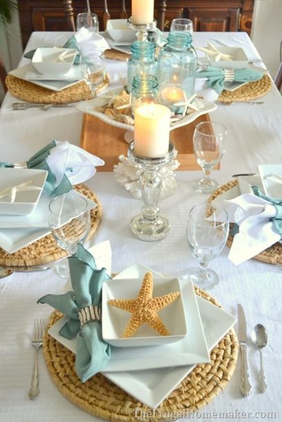 beach coastal table setting