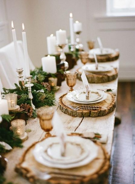 Rustic Winter Wedding Table Setting
