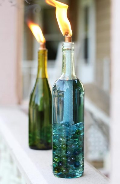citonella candle wine bottle