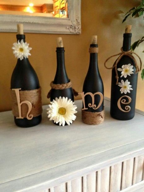 diy decorative home wine bottles
