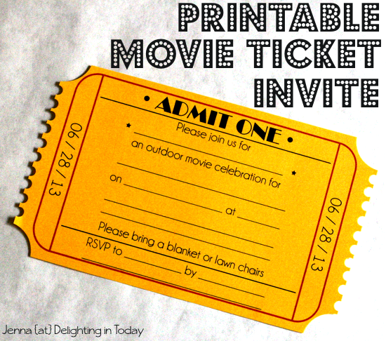 What you need for an outdoor movie night for Fake movie ticket template