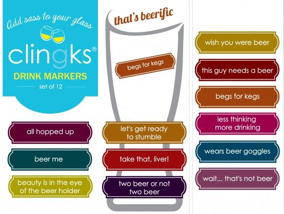 Funny static cling beer markers from Clingks.com